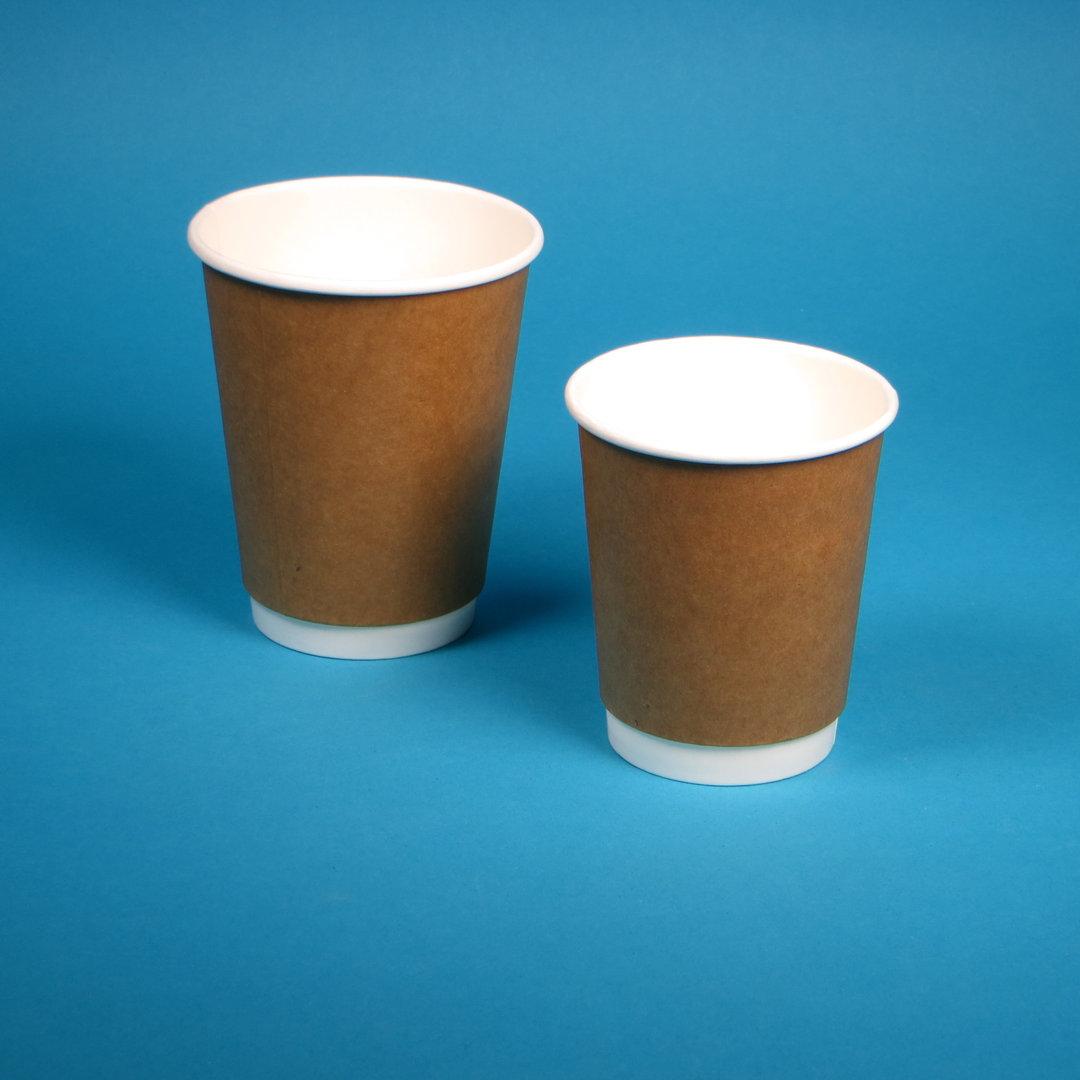 Bio Doppelwand Coffee to go Becher braun 500St versch. Größen