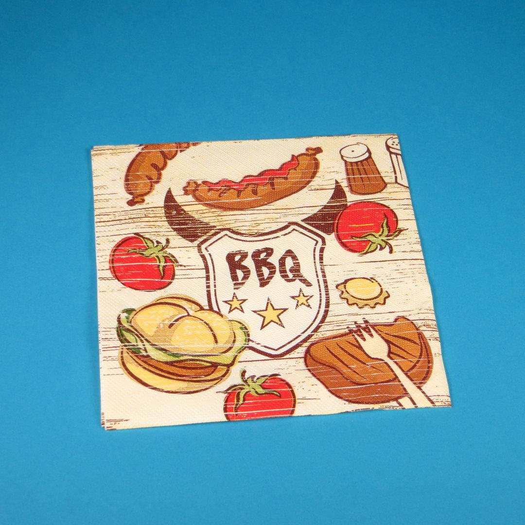"""Tissue Serviette """"BBQ"""" Premium 40x40cm 4lg 1/4 600St"""