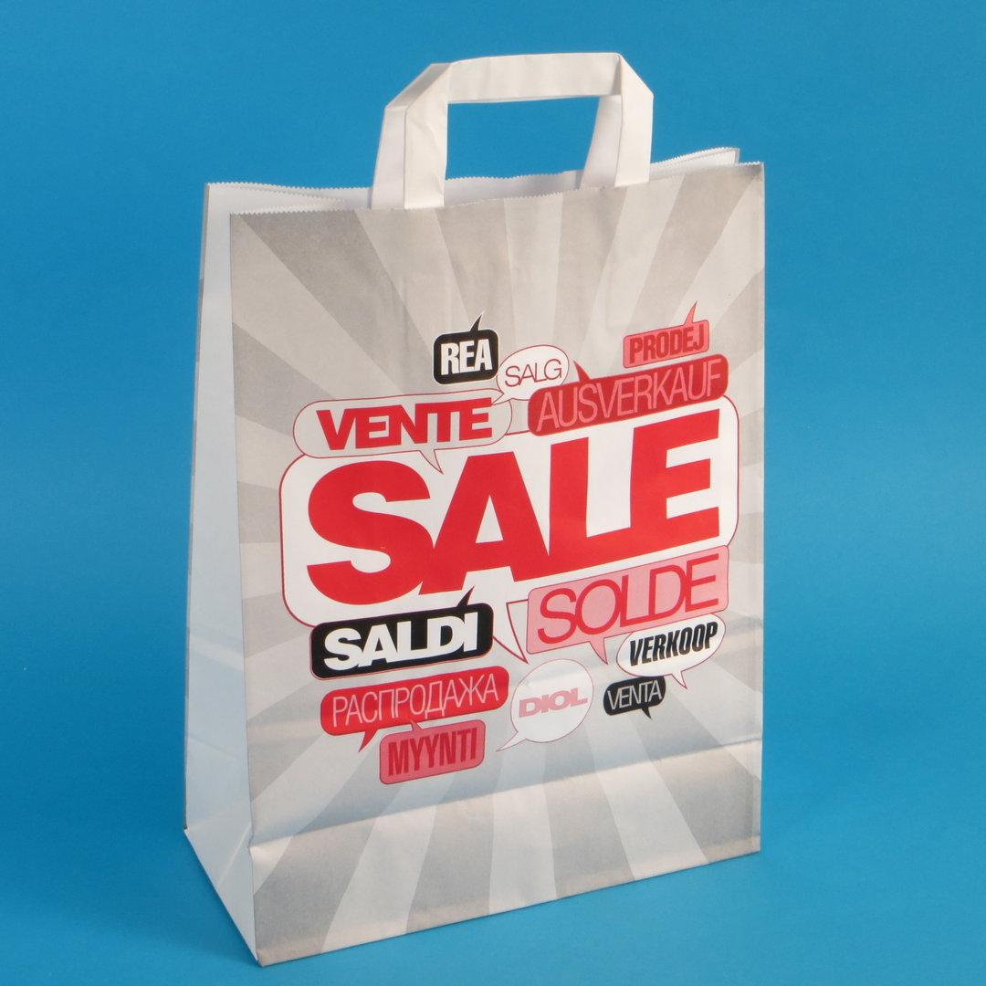 """Papiertragetaschen 26+12x35cm weiß """"Sale"""" 80g/m² 250St"""