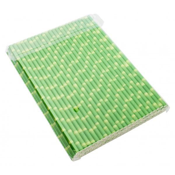 Bio Papiertrinkhalme Bambusoptik 6x210mm 100St