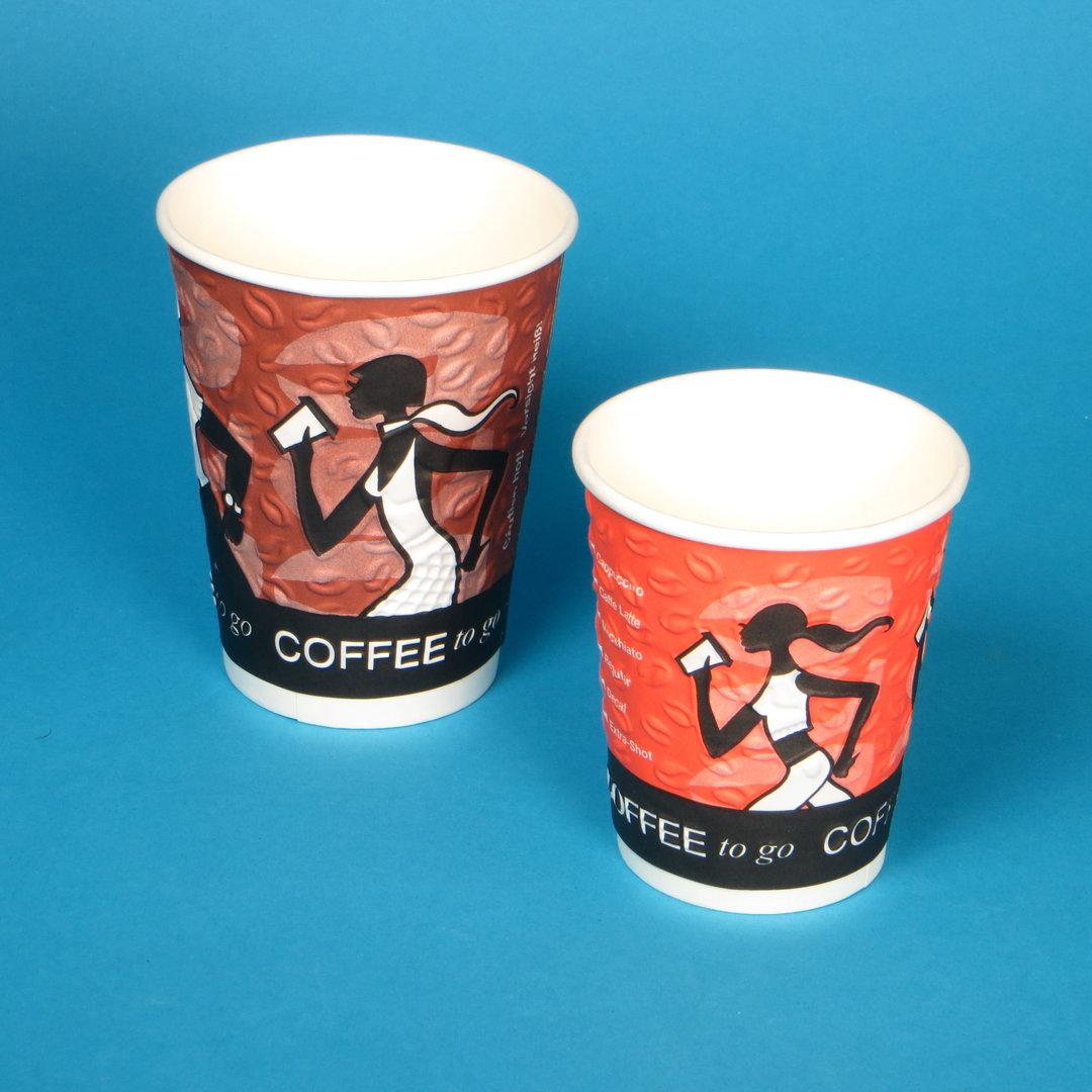 """Coffee to go Prägebecher """"Coffee Grabbers"""" 500St. versch. Größen"""