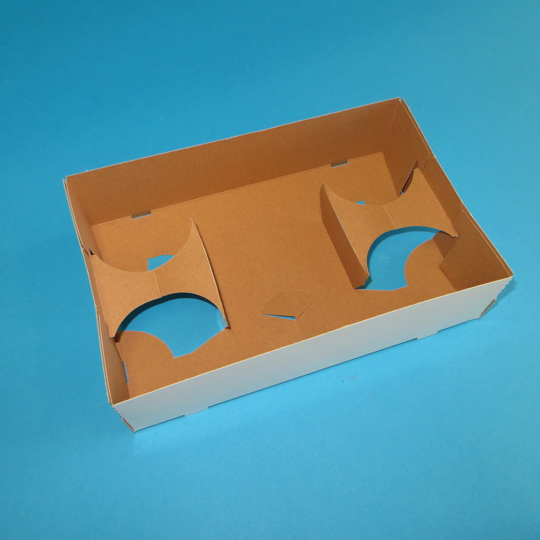 Snack Transport Tray aus Hartpapier 254x165x63mm 200St