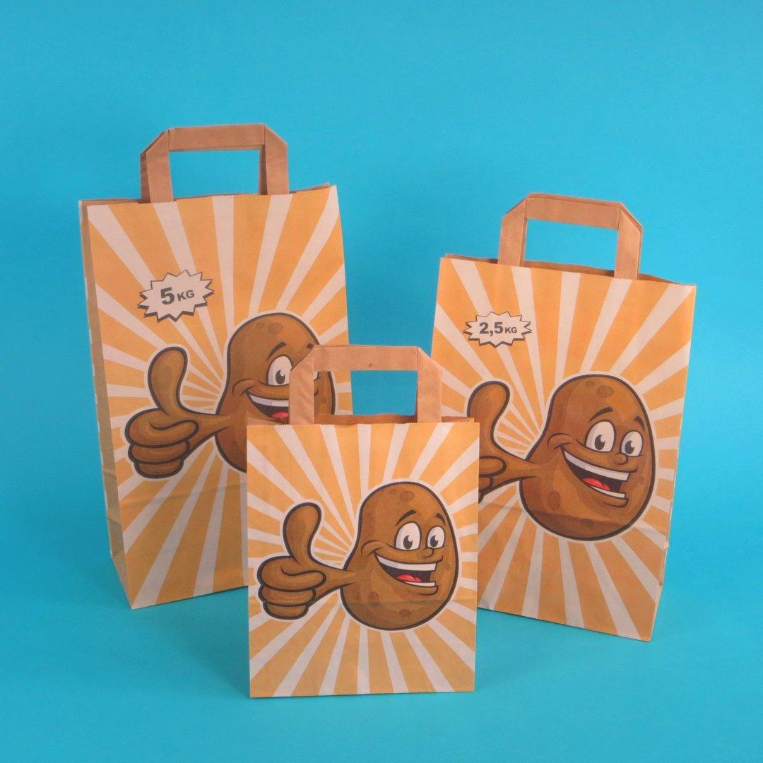 "Papiertragetaschen ""Happy Potatoe"" 250St. versch. Größen"