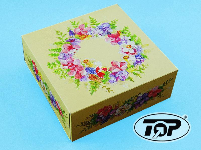 "Tortenkarton 21x21x8cm ""Blütenzauber"" 50St."