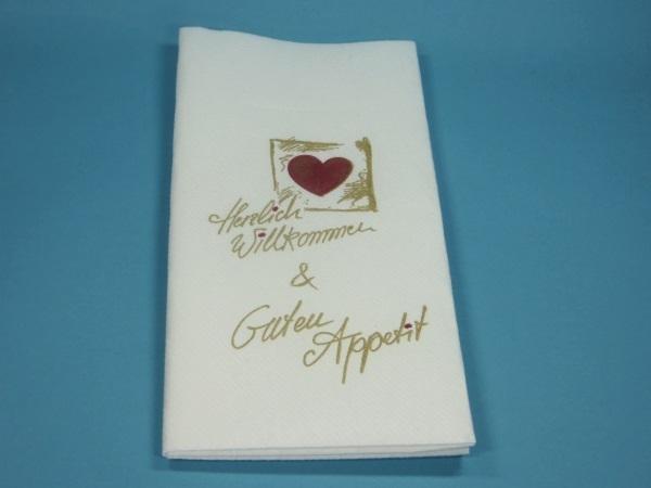 "Pocket Napkin ""Guten Appetit"" 40x40cm 1/8 Airlaid 600St"