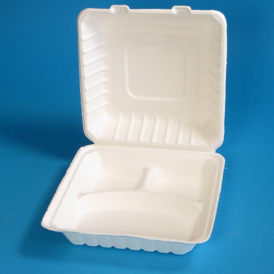 Bio Menübox Bagasse Zuckerrohr XL 3-get. weiß 236x231x81mm 200St