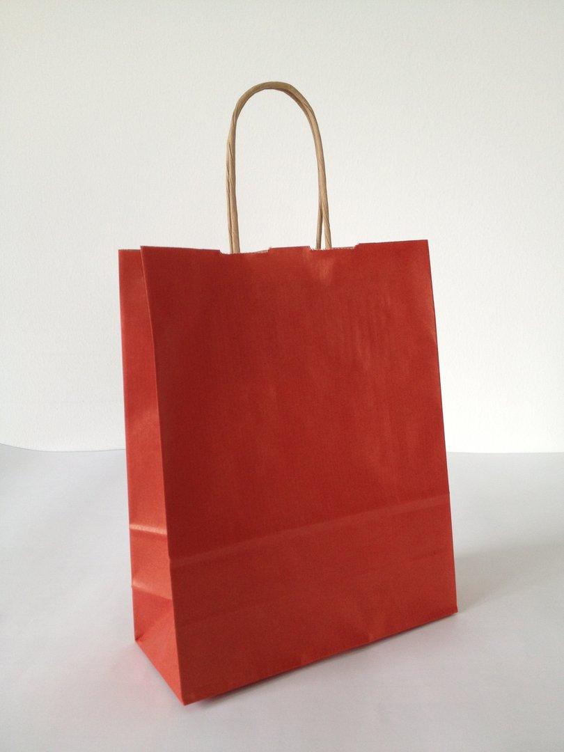 Papiertragetasche mit Kordel Rot gerippt versch. Größen