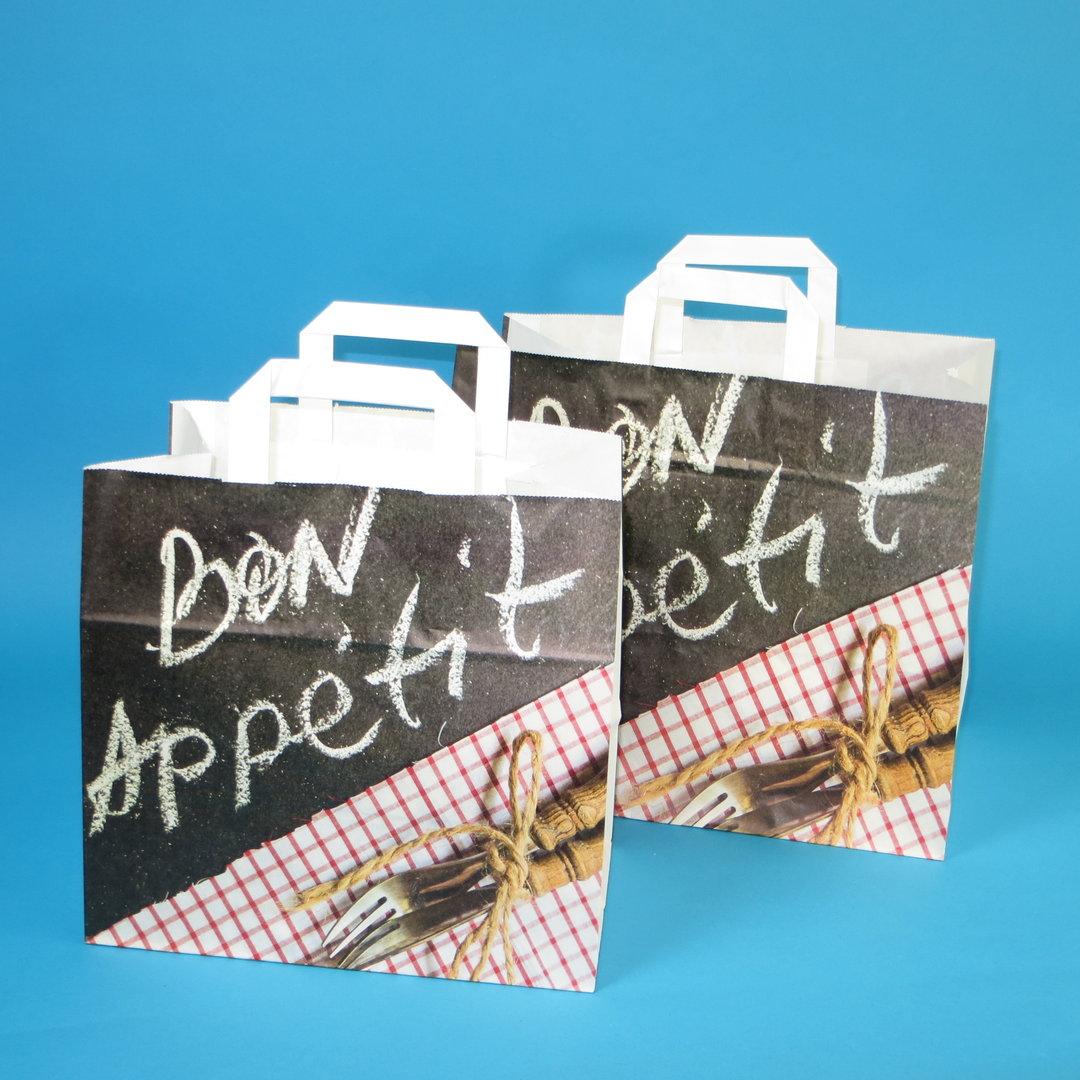 """Papiertragetaschen """"Bon Appetit"""" 80g 250St versch. Größen"""