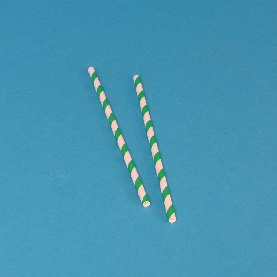 Papiertrinkhalme grün weiß gestreift Ø6mm 20cm lang 500St