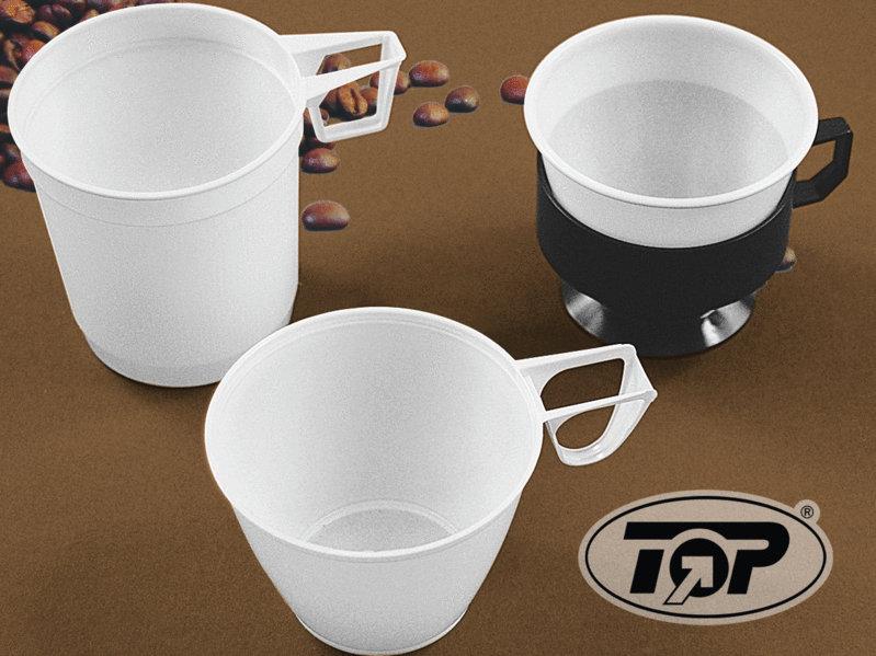 Einweg Kaffeetasse aus Kunststoff weiß 250ml 1.000St.