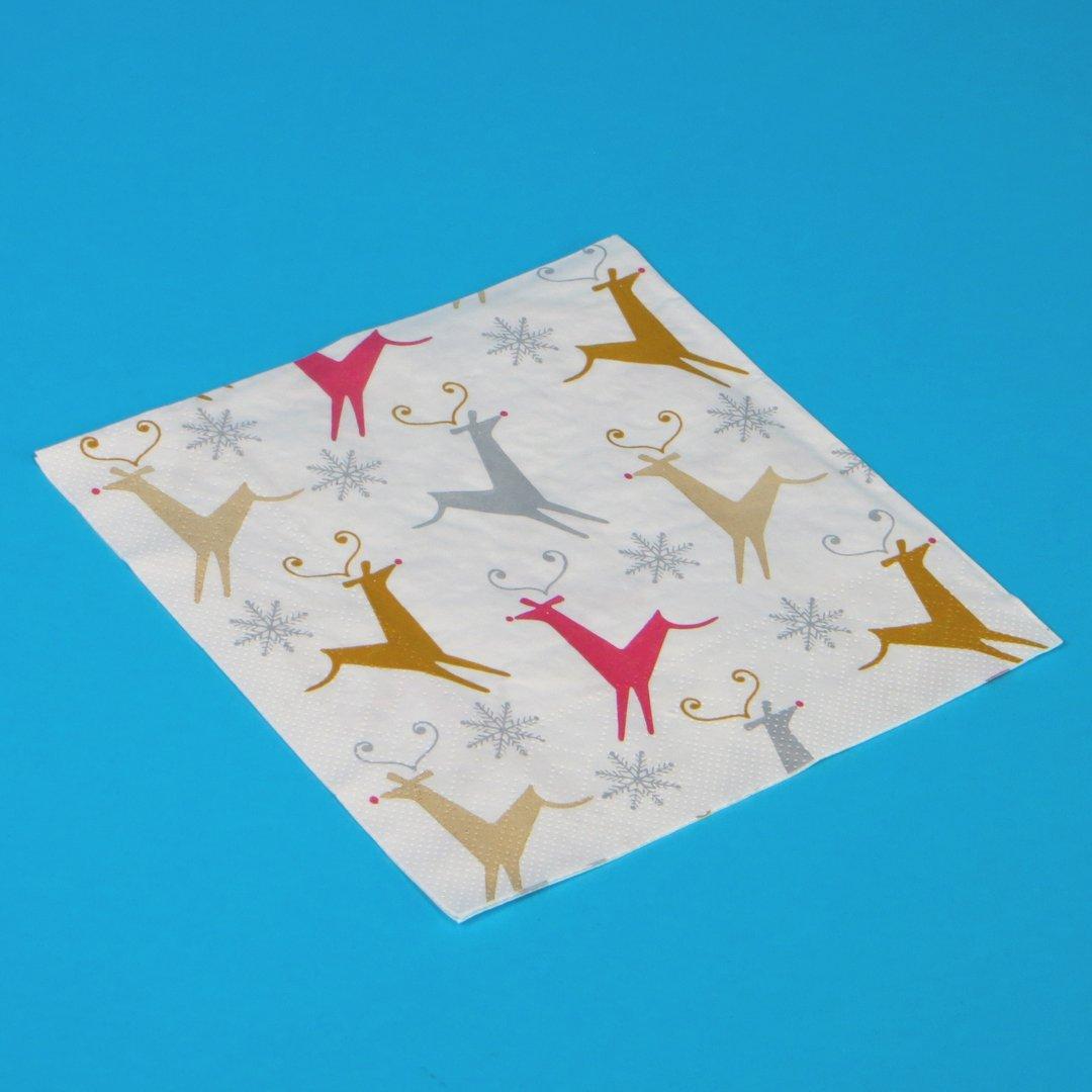 """Tissue Servietten Weihnachten """"Malte"""" 33x33cm 3lg 1/4 800St"""