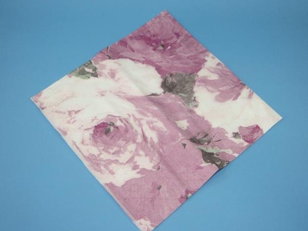 Tissue Serviette 40x40cm 3lg 1/4 Rosendekor Aubergine 1200St