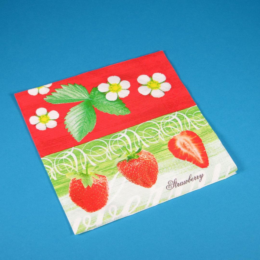 "Tissue Serviette ""Strawberry"" 40x40cm 4lg 1/4 600St"