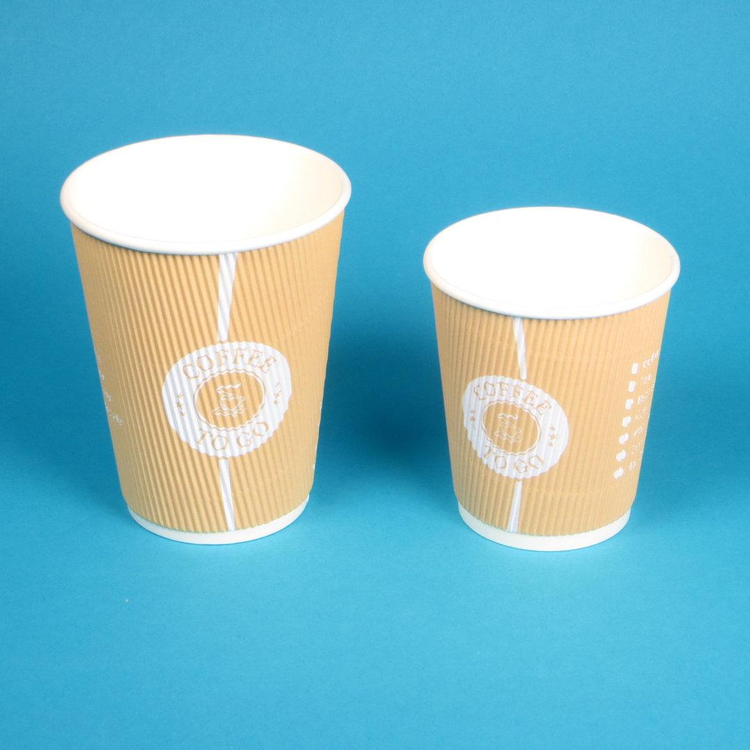 Coffee to go Thermo Riffel Becher hellbraun versch. Größen 500St
