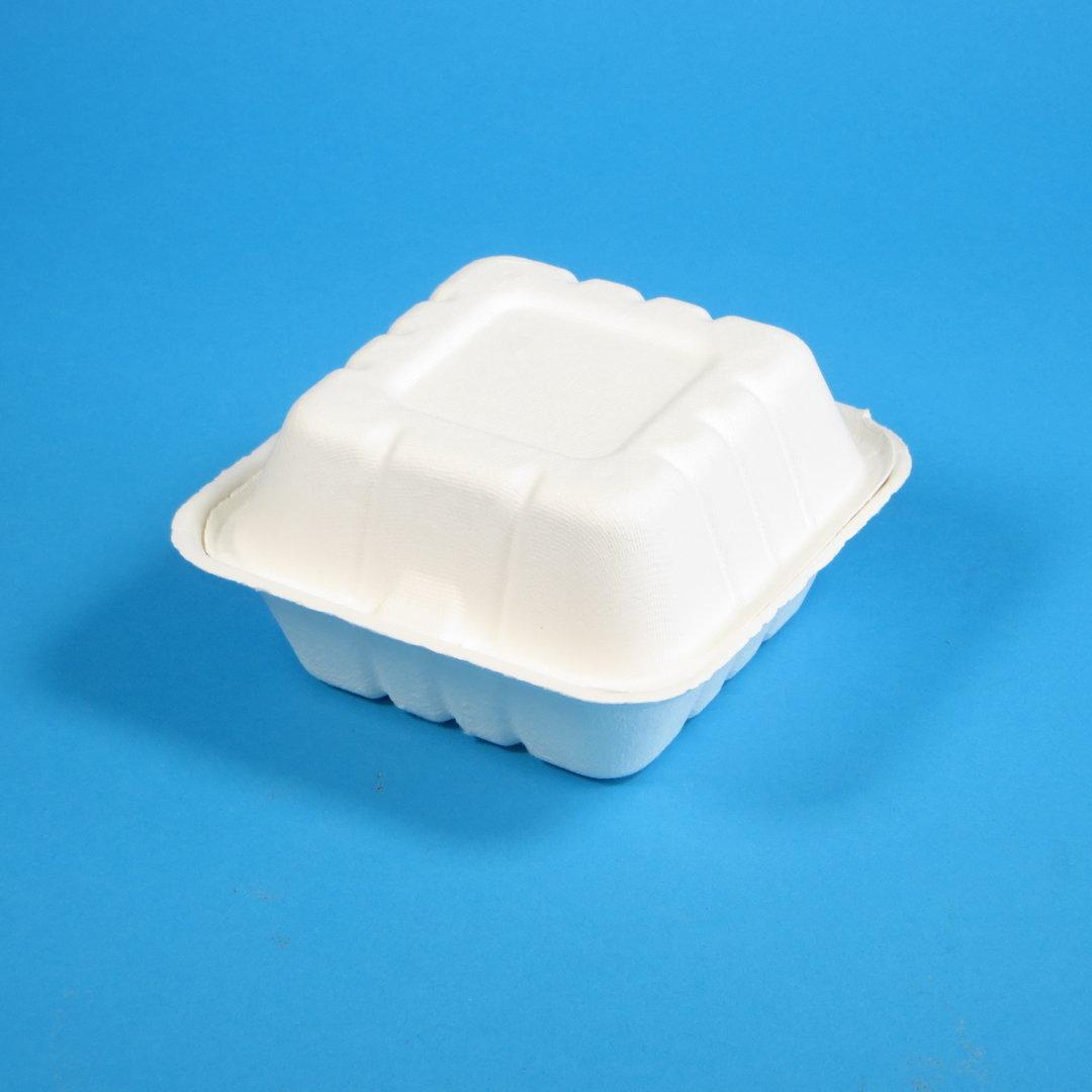 Bio Hamburgerbox Zuckerrohr/Bagasse XL 215x215x105mm weiß 200St