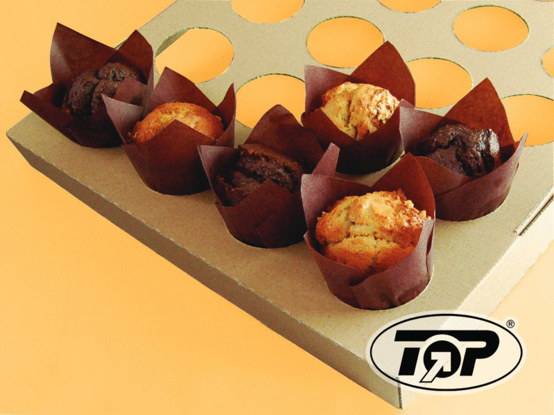 Muffin Back Tray Pappe für 24 Tulip Cups 42St
