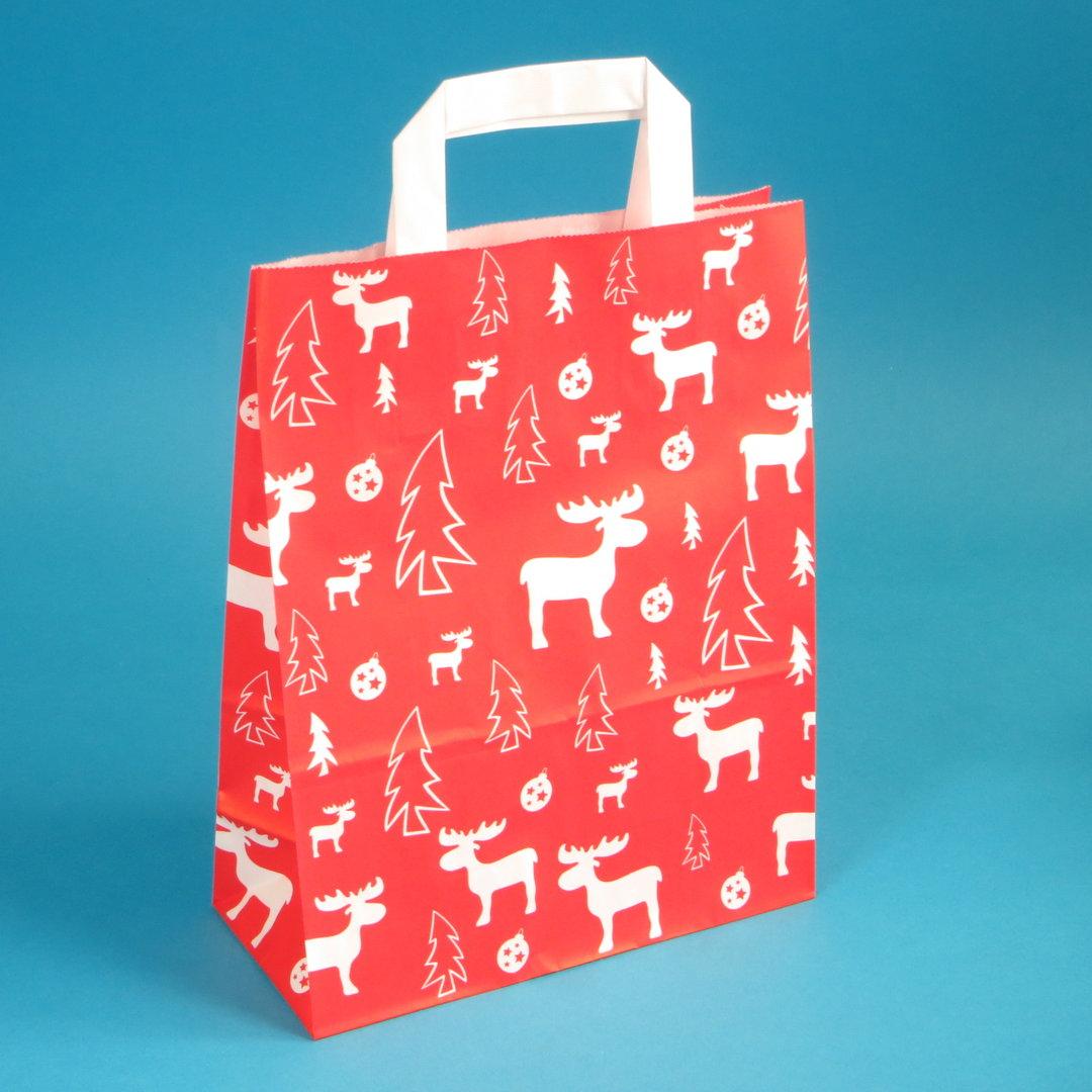 Papiertragetaschen rot Elch weiß Weihnachten 250St versch. Größen