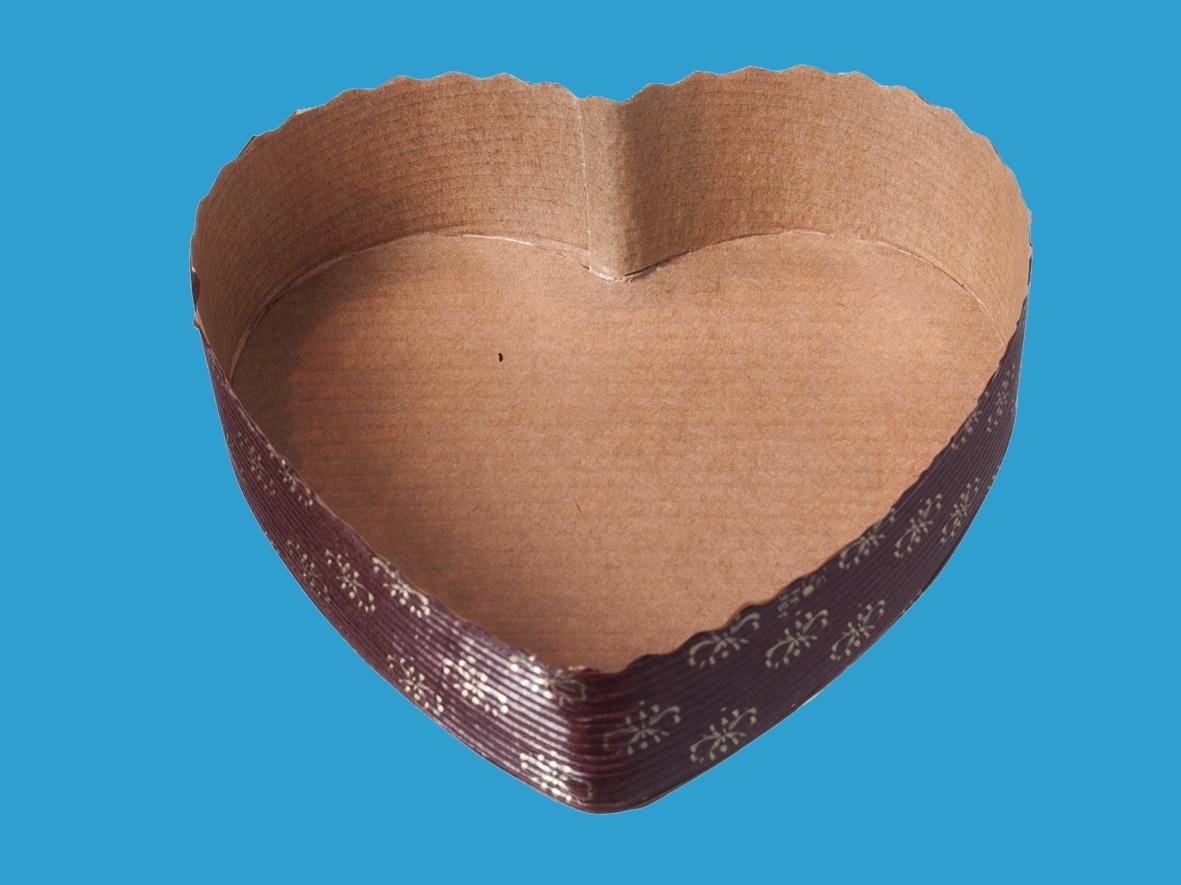 Herz Einwegbackformen Papier braun 13x3,5cm 300St