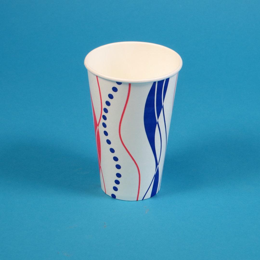 Trinkbecher Hartpapier 400ml rot blau Retro 1000St