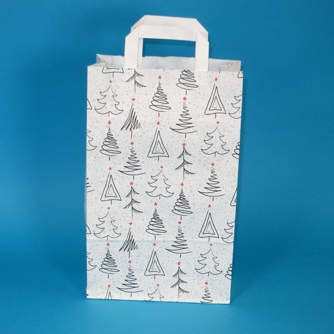 """Papiertragetasche """"Weihnacht"""" weiß grau rot 22+10x36cm 250St"""