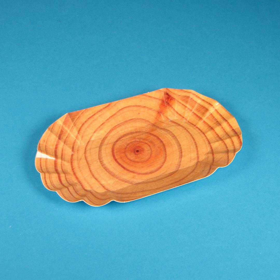 "Pappschale PREMIUM beschichtet ""Real Wood"" 16x10x3cm 250St"