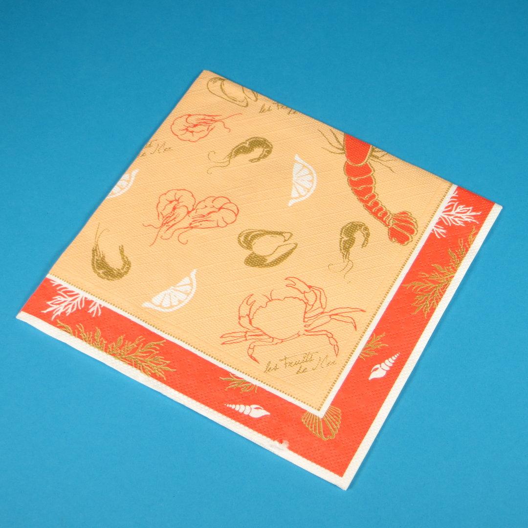 """Tissue Serviette """"Les Fruits de Mer"""" 40x40cm 4lg 1/4 600St"""