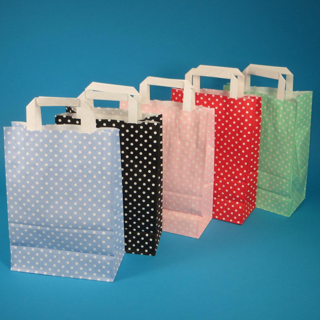 """Papiertragetaschen """"Punkte"""" 250St. verschiedene Farben und Größen"""