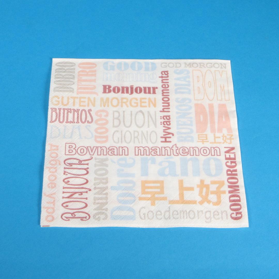 """Tissue Servietten """"Guten Morgen"""" 33x33cm 3-lg 1/4 1000St"""