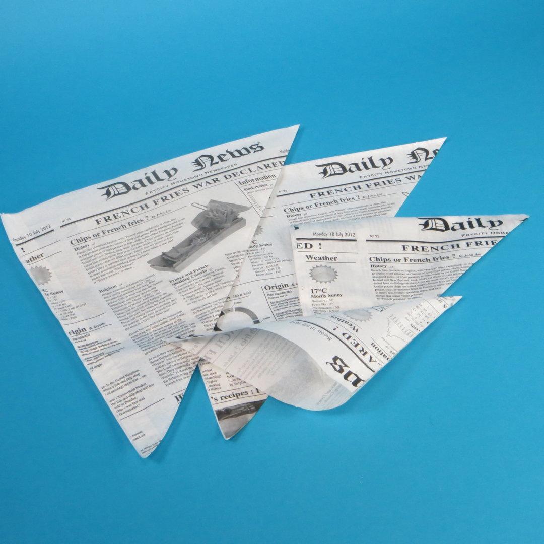 Spitztüten Newspaper Perga fettdicht 150g/450g/650g zur Auswahl