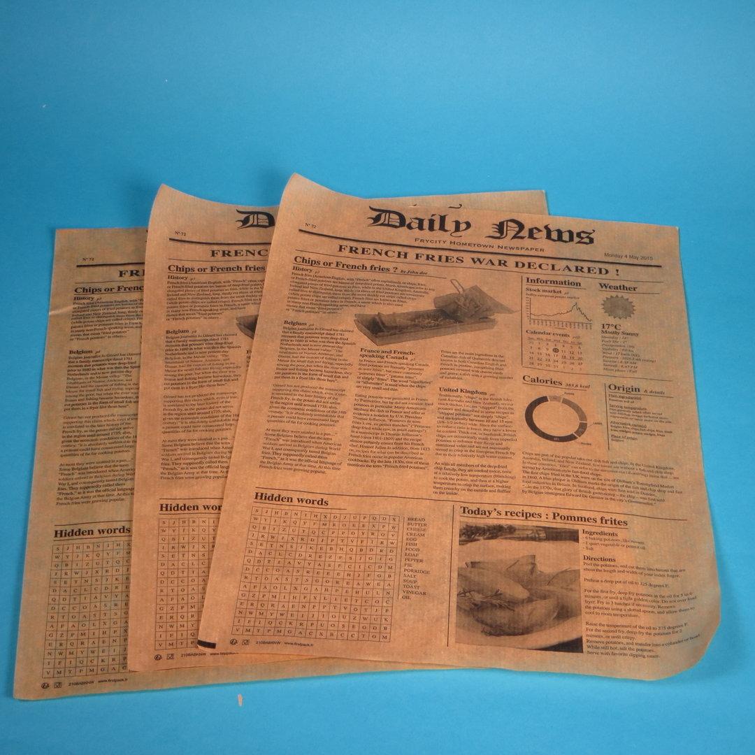Einschlagpapier fettdicht braun Zeitungsdruck 270x350mm 1000Bl