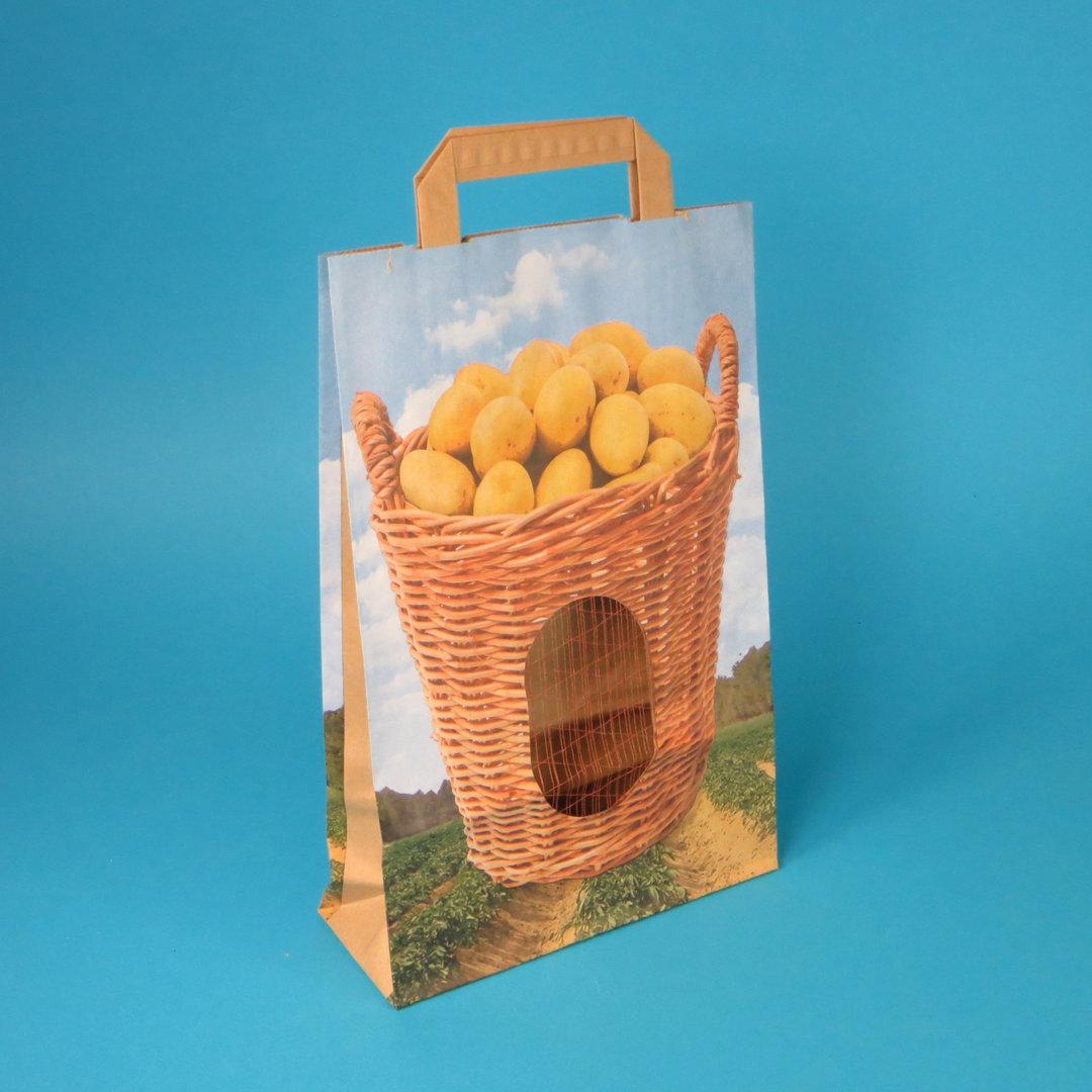 """Papiertragetaschen """"Kartoffelkorb"""" m. Sichtfeld 22+8x33,5cm 250St"""