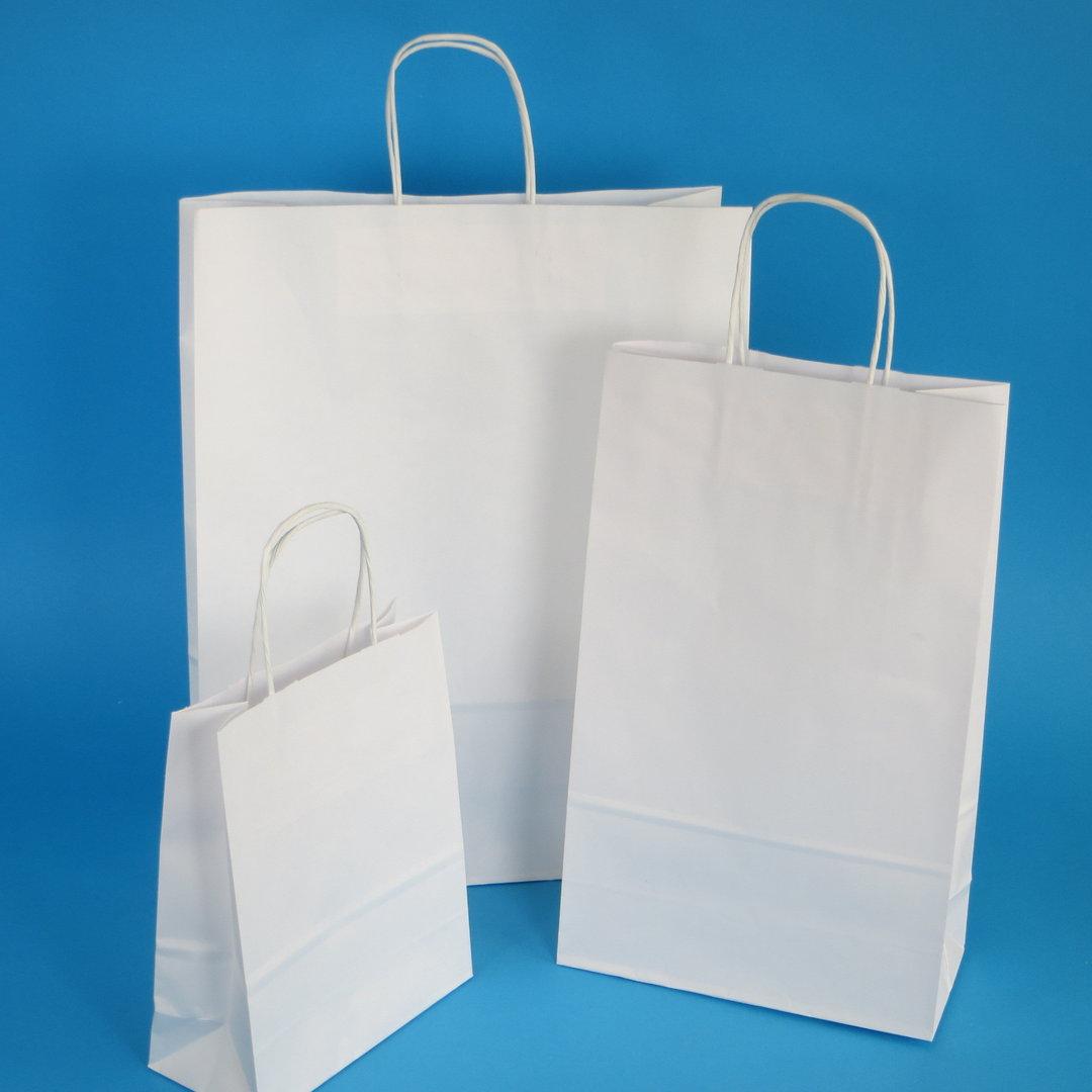 Papiertragetaschen mit Kordel weiß versch. Größen