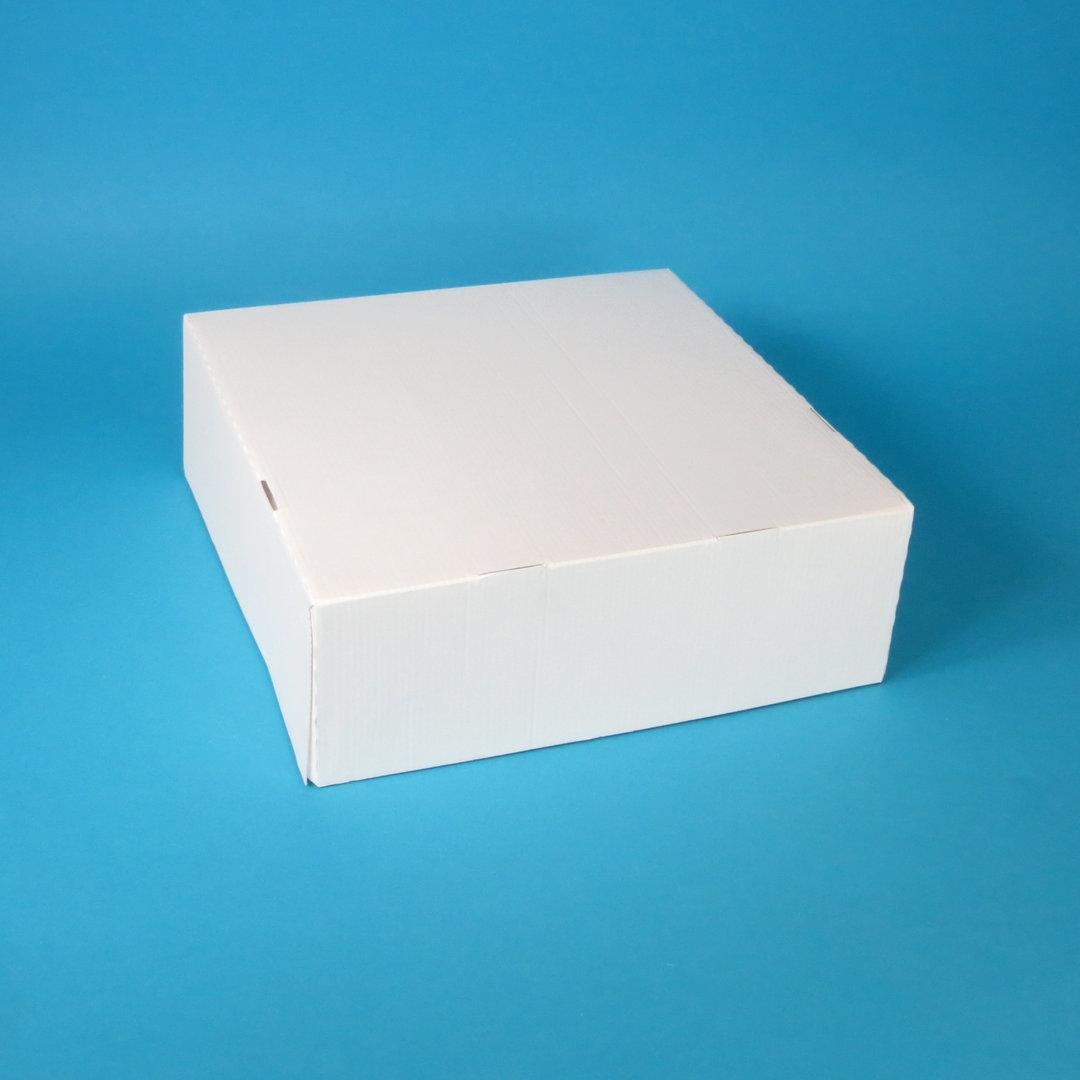 Tortenkarton 1-teilig mit anh. Deckel weiß 32x32x11cm 60St