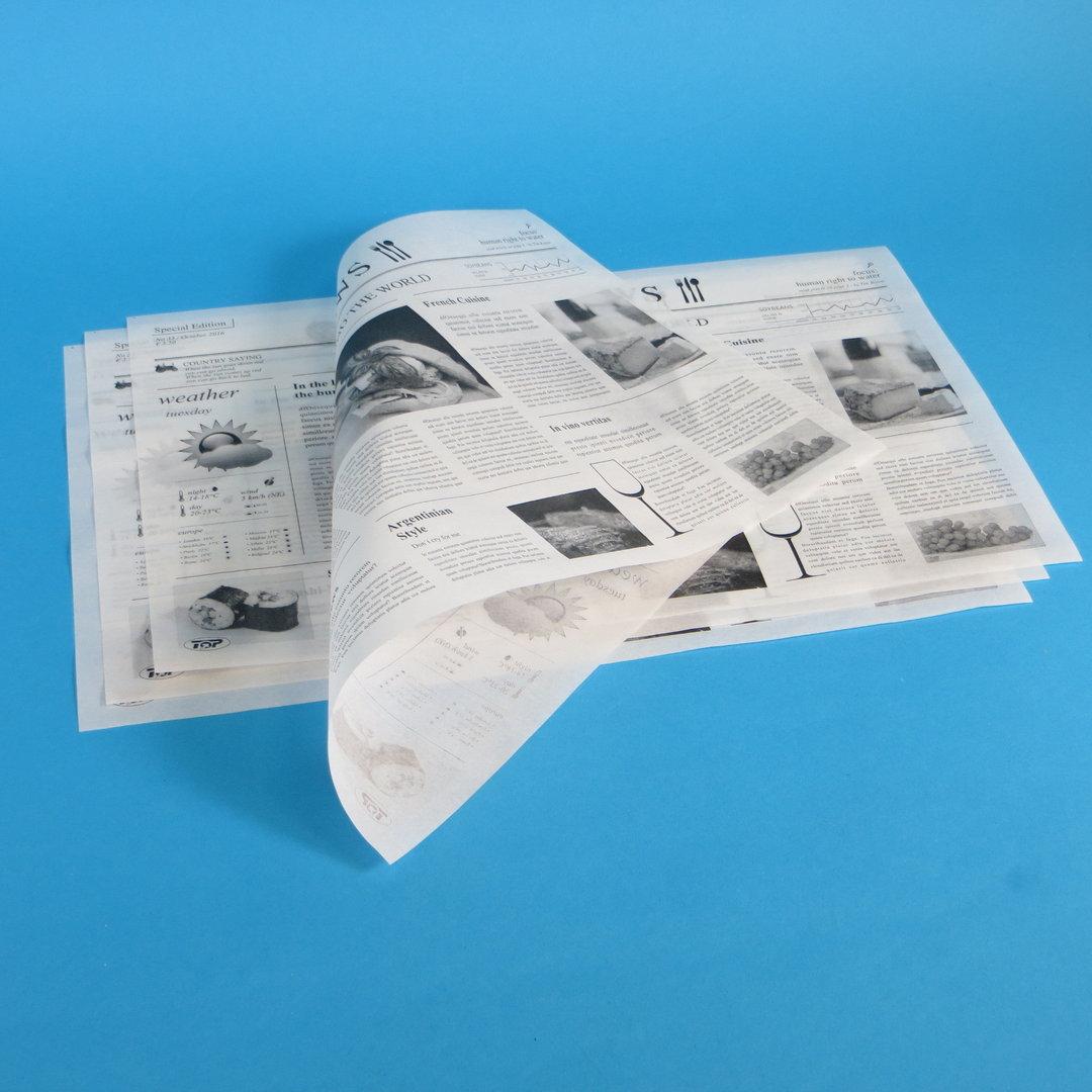 """Einschlagpapier fettdicht """"Zeitungsmotiv"""" 37,5x50cm 1000St"""