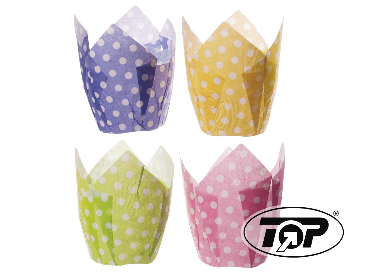 Muffin Tulip Cup Punkte Lila Gelb Grün Pink 4x250St