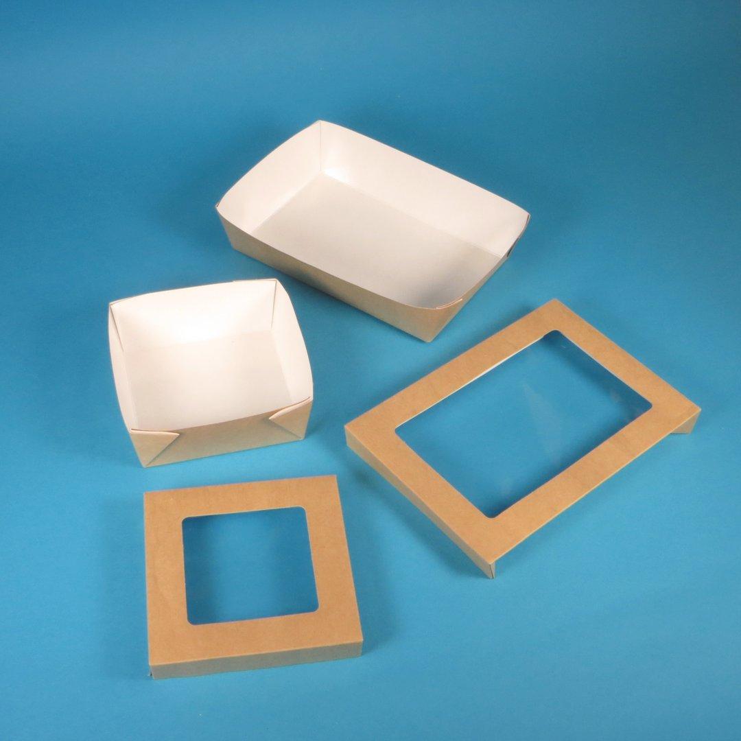 Snack Tray inkl. sep. Deckel mit Sichtfenster versch. Größen