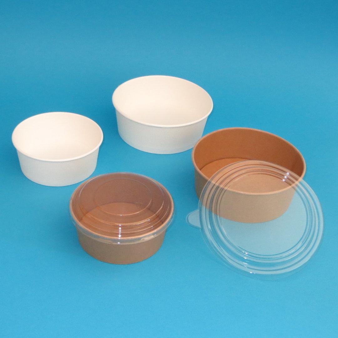 Bio Salatschalen Hartpapier m. PLA braun/weiß versch. Größen