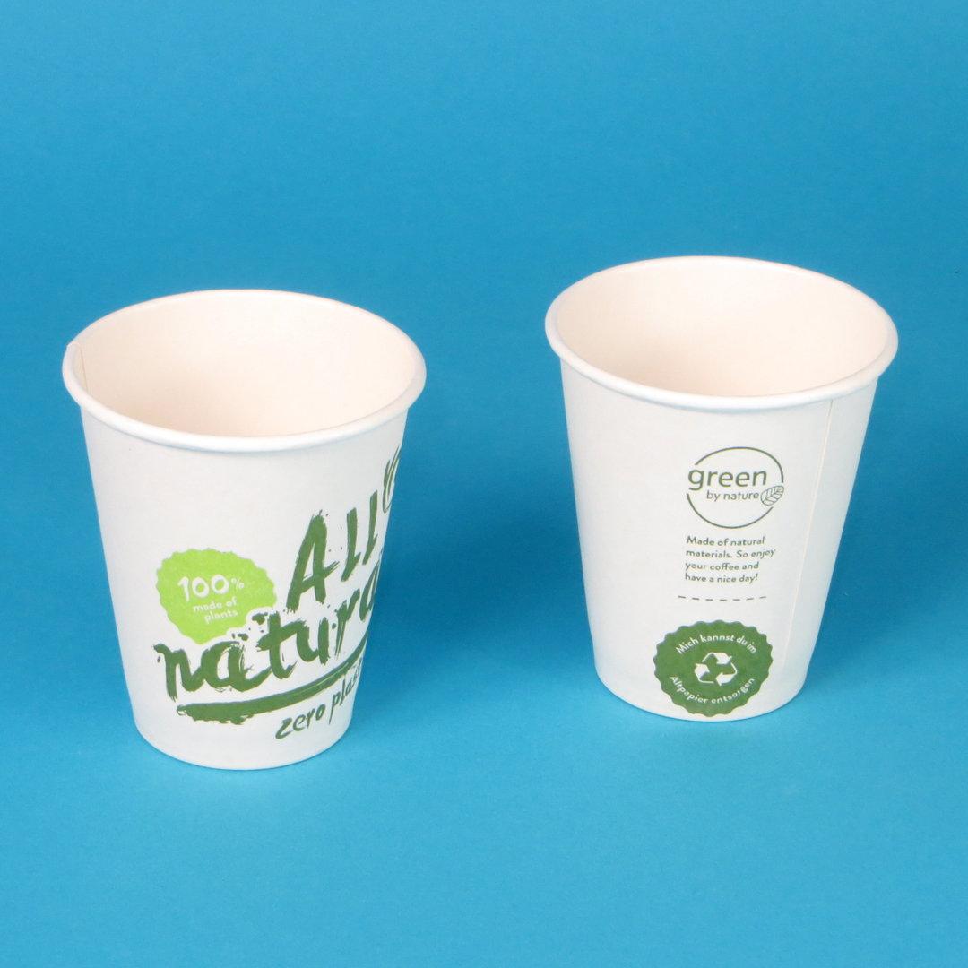 """Bio Kaffeebecher """"Zero Plastic"""" ohne PE/PLA Beschichtung 1000St versch Größen"""