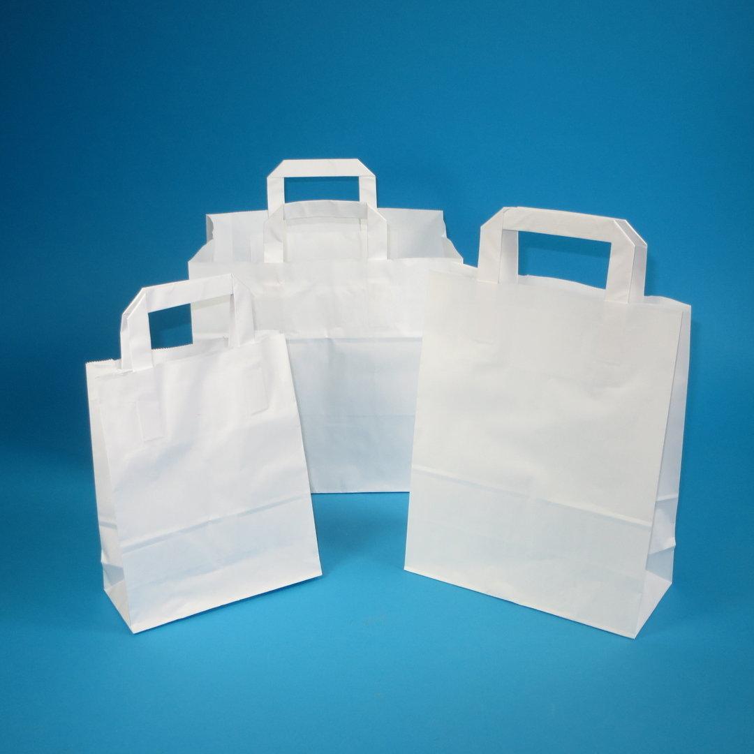 Papiertragetaschen weiß 80g 26x12x35cm 250St.