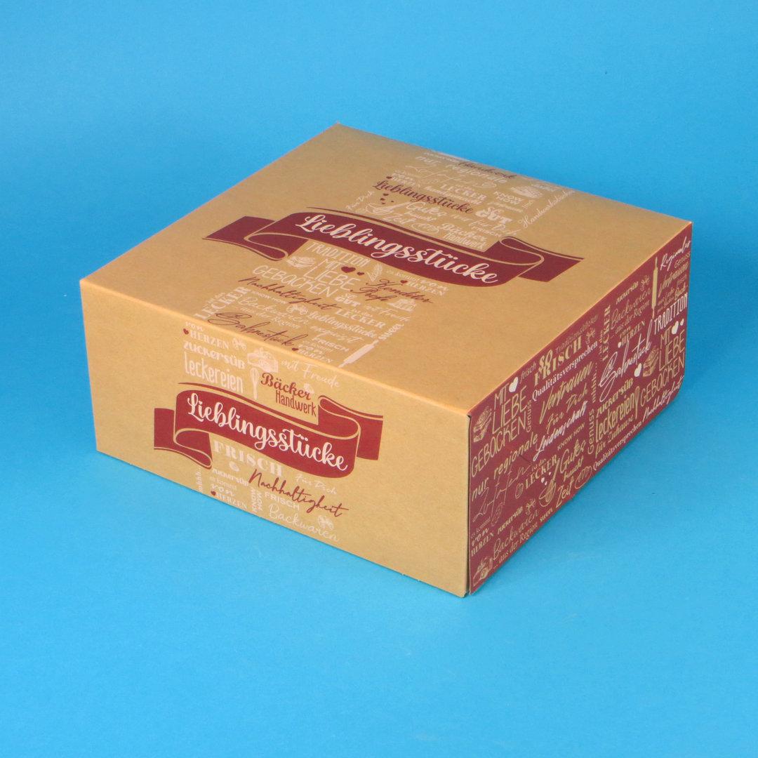 """Tortenkartons """"Lieblingsstücke"""" einteilig 22x22x10cm 100St"""