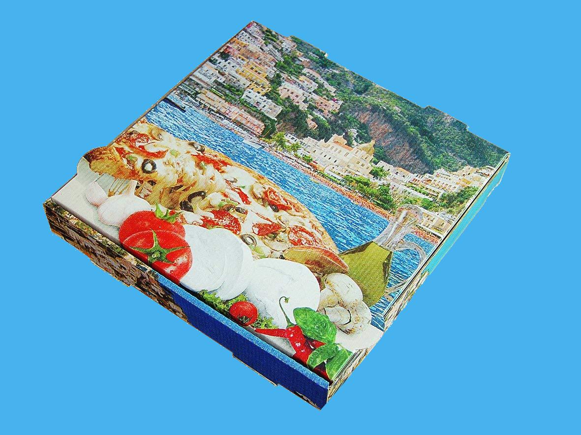 "Pizzakartons 4,2cm hoch ""Mittelmeer"" Kraft 100St. versch. Größen"