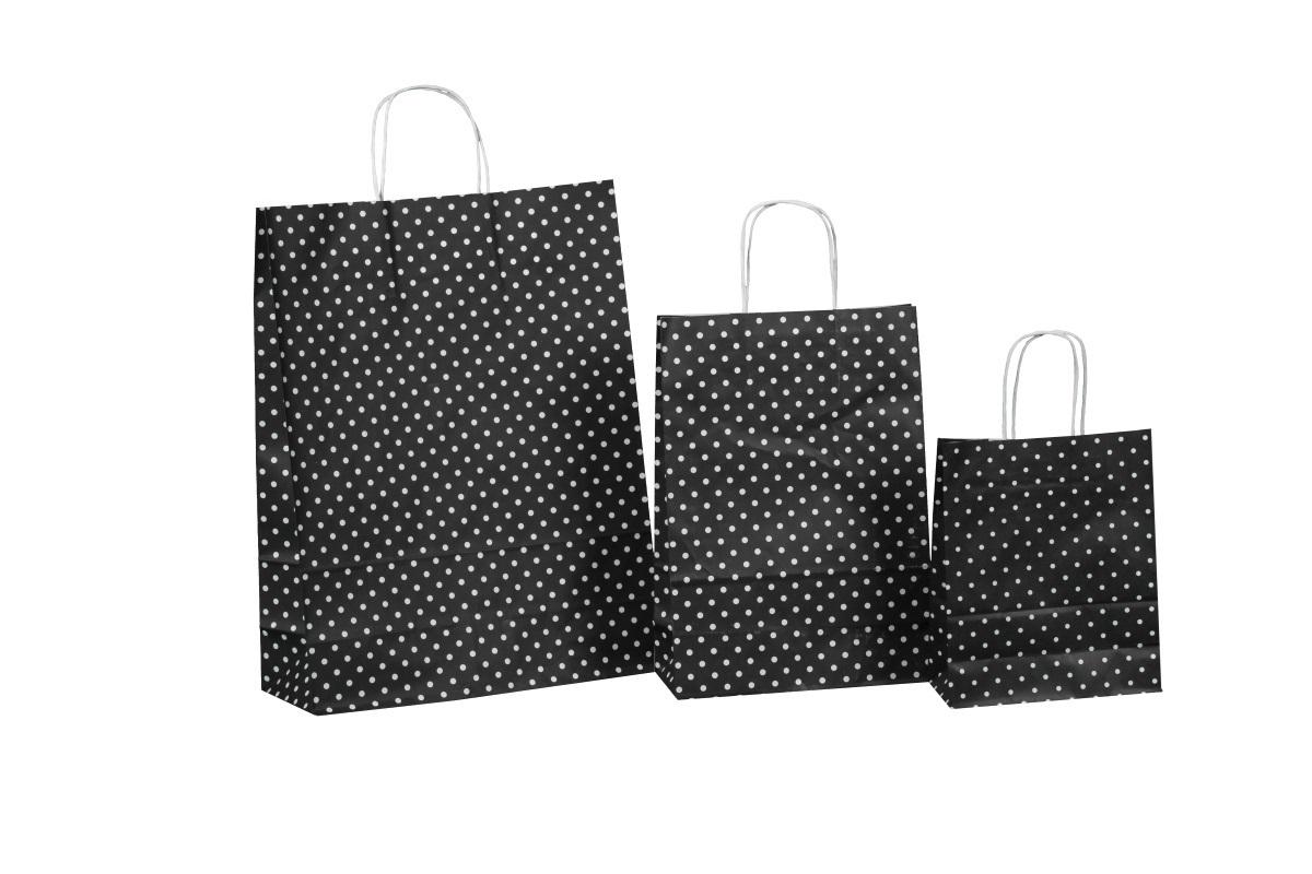 Kordel Papiertragetaschen schwarz m. Punkten versch. Größen