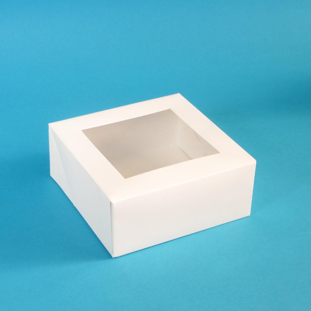 Cakebox weiß 1-teilig mit PLA Sichtfenster 180x180x75mm 250St
