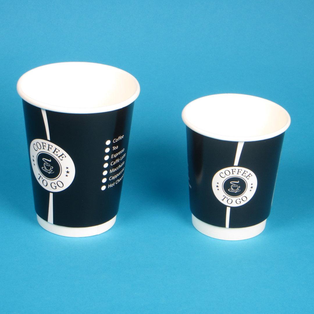 Coffee to go Doppelwandbecher schwarz versch. Größen 500St