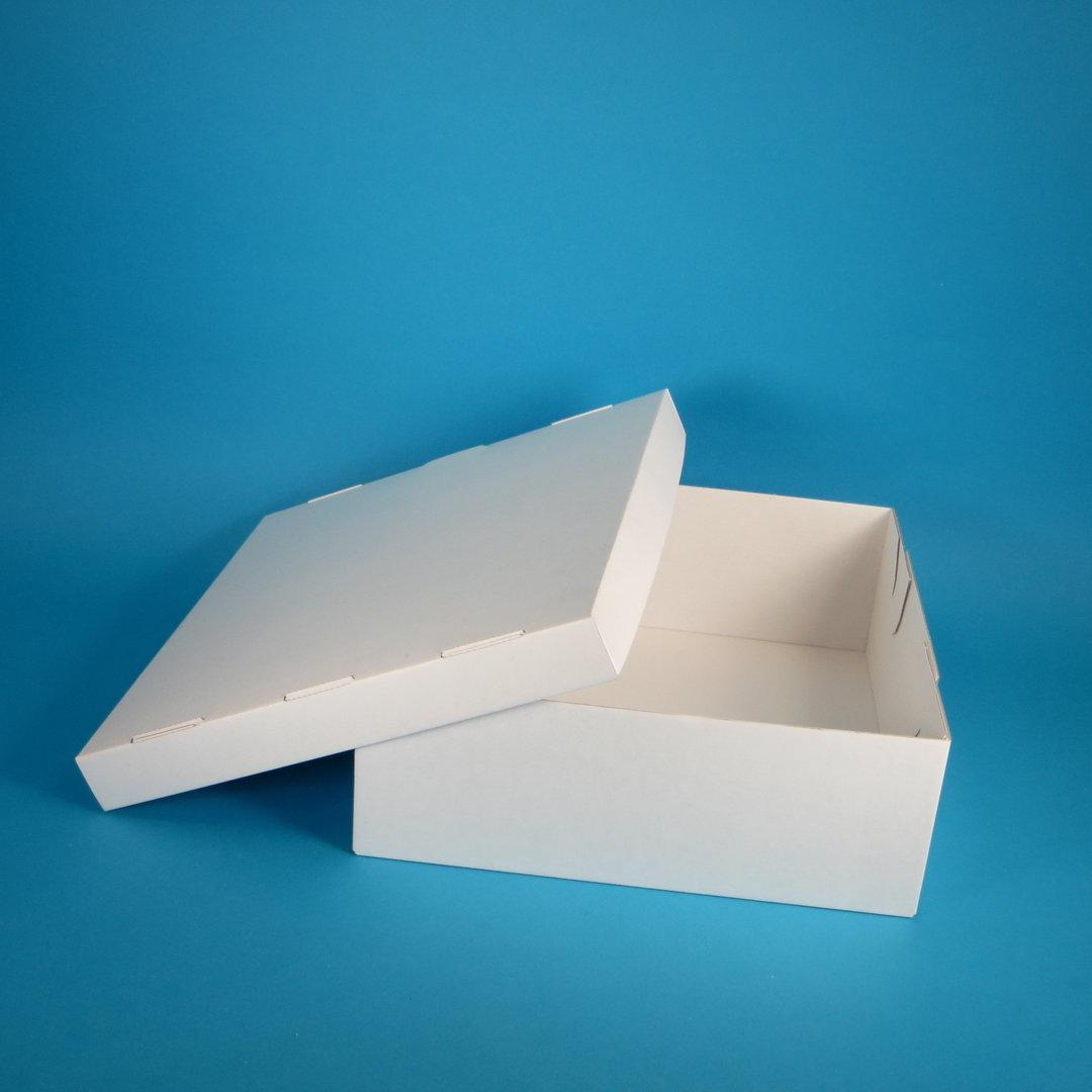 Tortenkarton 2-teilig Wellpappe robust weiß 32x32x12cm 50St