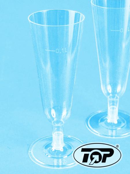 Sektglas Einweg klar Spritzguss mit Fuß 288St.