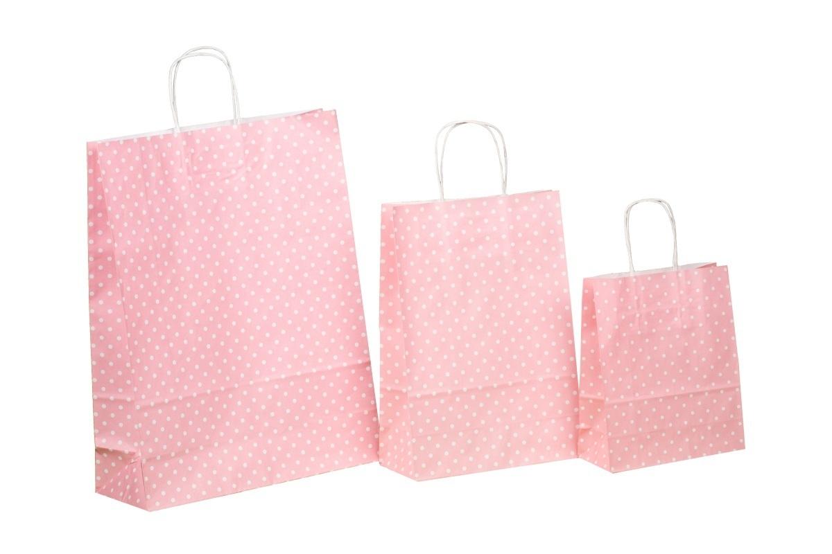 Kordel Papiertragetaschen rosa m. Punkten 80g versch Größen